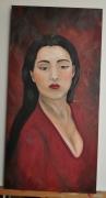 tableau personnages femme asiatique rouge portrait : femme Asiatique
