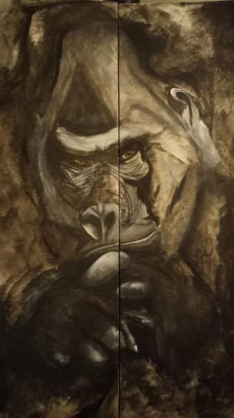 PAINTING Tableau peinture sur toile tableau gorille Animaux Acrylique  - Tableau gorille penseur, peinture sur toile