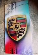 tableau sport tableau porsche logo porsche peinture porsche cadre porsche : Tableau logo Porsche coloré