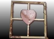 tableau abstrait cadre coeur bois tableau amour deco murale cadre mural : Tableau coeur sur cadre bois