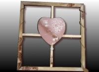 Tableau coeur sur cadre bois