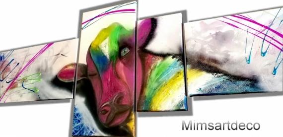 TABLEAU PEINTURE tableau vache tableau animaux peinture animaux artiste peintre Animaux  - Tableau abstrait vache multicolore