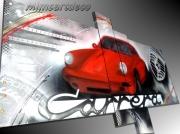 tableau sport tableau porsche carr voiture de luxe peinture porsche porsche carrera roug : Tableau abstrait Porsche rouge