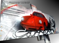Tableau abstrait Porsche rouge