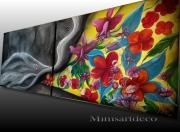tableau fleurs tableau abstrait tableau moderne tableau colore : Tableau abstrait moderne coloré