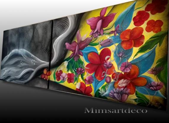 PAINTING Tableau abstrait tableau moderne tableau coloré Fleurs Acrylique  - Tableau abstrait moderne coloré