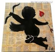 artisanat dart personnages tableau ange peinture ange tableau collage ange noir : Tableau ange