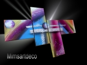 tableau abstrait art deco tableaux design tableau mural peinture moderne gra : Tableau multicolore Win