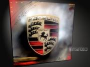 tableau sport tableaux abstraits tableaux moderne tableau contemporain peinture porsche : Tableau Logo Porsche