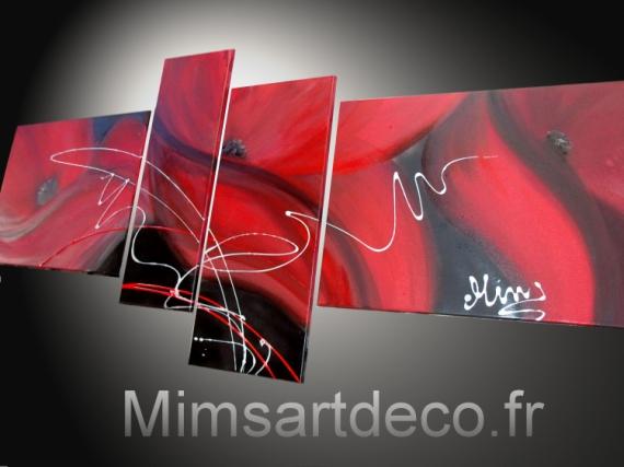 TABLEAU PEINTURE tableaux abstraits tableaux moderne tableau coquelicot decoration murale Fleurs  - Tableau abstrait coquelicot