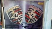 tableau sport tableau porsche peinture porsche logo porsche : Tableau double logo Porsche