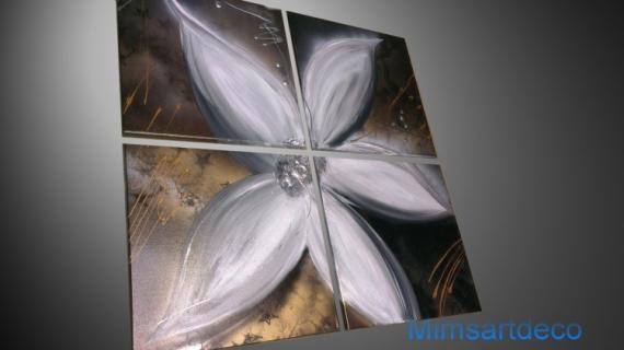 TABLEAU PEINTURE tableaux moderne peinture abstraite tableau fleur art abstrait Fleurs  - Tableau Moderne