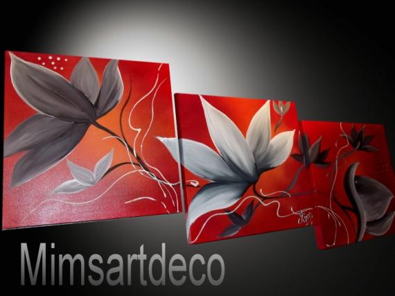 ARTISANAT D'ART tableaux abstraits tableaux moderne art contemporains tableau design Fleurs  - Tableaux abstrait moderne