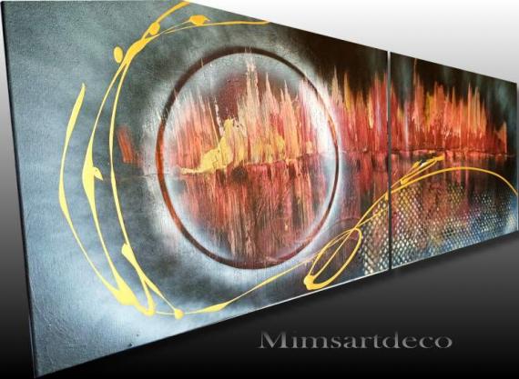 TABLEAU PEINTURE tableaux abstrait tableaux moderne peinture abstraite peinture moderne sur toile Abstrait  - TABLEAU ABSTRAIT MODERNE ROUGE GRAND FORMAT