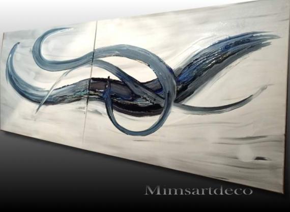 TABLEAU PEINTURE tableau abstrait blanc tableau moderne blanc peinture abstraite blanche peinture moderne unique Abstrait Acrylique  - TABLEAU ABSTRAIT BLEU ET BLANC
