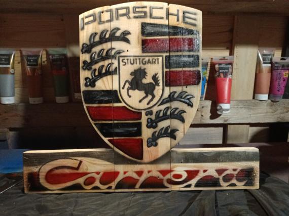 ARTISANAT D'ART Porsche Carrera logo Porsche sculpture Porsche sûr bois Sport  - Logo Porsche peinture sur bois