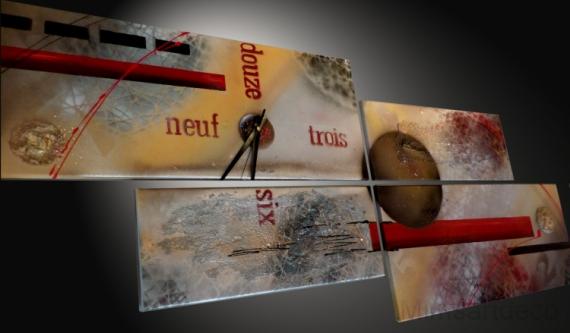 TABLEAU PEINTURE tableau horloge peinture moderne tableau contemporain decoration murale Abstrait  - Tableau Horloge design