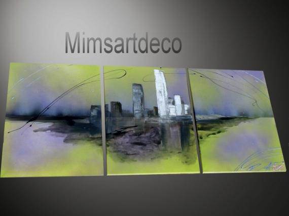 ARTISANAT D'ART tableau abstrait tableaux design art moderne home deco Villes  - Tableau abstrait Voyage d'un rêve