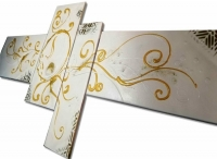 Tableau Baroque or et blanc
