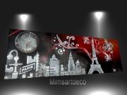 tableau villes tableau paris tableau moderne pari peinture abstraite ,p tableau paris en ven : Tableau horloge  contemporain