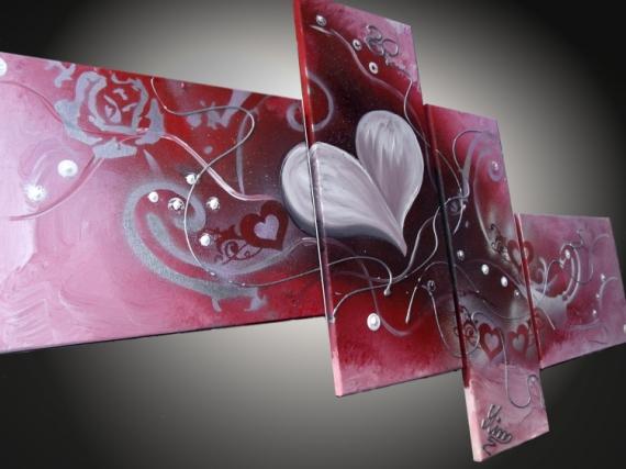 TABLEAU PEINTURE tableaux abstraits tableaux moderne art contemporain tableau design Abstrait Acrylique  - tableaux abstrait Coeur