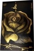 tableau fleurs tableau ethnique noir et or rose doree peinture sur toile : tableaux ethnique blanc