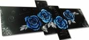 tableau fleurs tableau roses cadre peinture moder tableau peint ,a la ,m tableau bleu : TABLEAU ROSES BLEU
