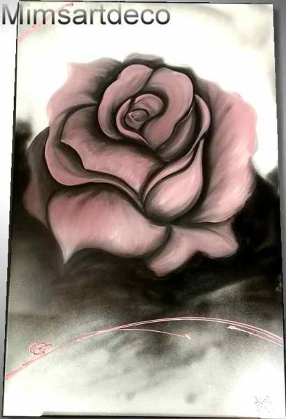 CRAFTS tableau rose peinture rose et gri tableau moderne rose vieux rose et gris Fleurs  - grand Tableau vieux rose et gris sur toile