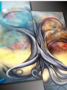 artisanat dart abstrait tableau abstrait peinture moderne art abstrait peinture sur toile : Tableau moderne arbre de vie