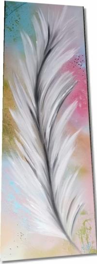 Tableau abstrait plume blanche