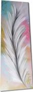 tableau fleurs tableau plume tableau colore peinture sur toile tableau deco : Tableau abstrait plume blanche