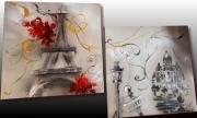 tableau villes tableau paris tableau ville tableau moderne peinture sur toile : Tableau tour Eiffel Paris