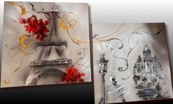 TABLEAU PEINTURE tableau paris tableau ville tableau moderne peinture sur toile Villes  - Tableau tour Eiffel Paris
