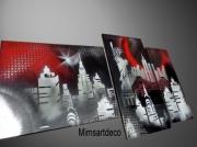 deco design villes tableaux moderne peinture abstraite peinture new york art abstrait : Tableau Rouge New York