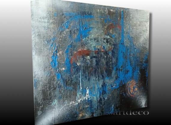 TABLEAU PEINTURE tableau abstrait bleu tableau moderne bleu peinture abstraite bleu peinture moderne bleu Abstrait Acrylique  - TABLEAU ABSTRAIT MODERNE BLEU