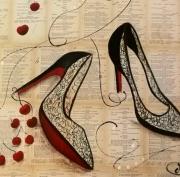 tableau scene de genre tableau collage tableau livre talon aiguille peinture rouge : Tableau unique Talon aiguille rouge