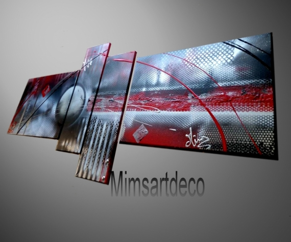 TABLEAU PEINTURE tableaux abstraits tableaux moderne tableau mural tableau design Abstrait  - Tableaux abstrait  rouge
