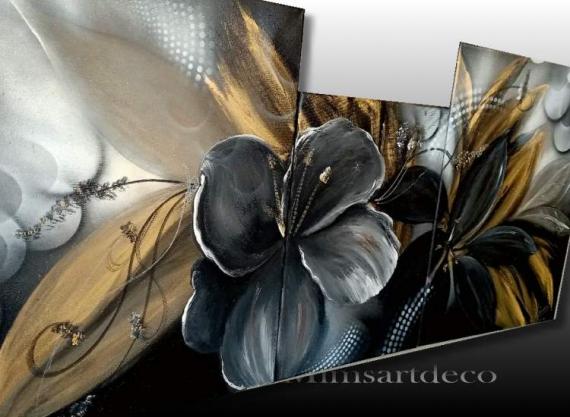 TABLEAU PEINTURE tableau fleur noire tableau fleur or peinture fleur noire peinture florale moderne Fleurs Acrylique  - PEINTURE FLORALE UNIQUE NOIR ET DORÉ