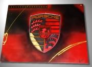 tableau sport tableau porsche peinture porsche logo porsche cadre porsche : Tableau Porsche rouge