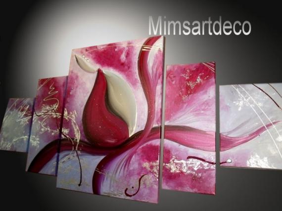 ARTISANAT D'ART tableaux abstraits tableaux moderne home deco contemporain Fleurs  - Tableau abstrait Moderne