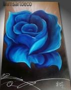 tableau fleurs grand tableau rose b tableau bleu grand tableau modern tableau rose bleu : Grand tableau tendance  rose bleu