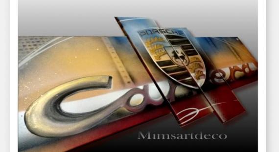TABLEAU PEINTURE Tableau Porsche peinture sur toile logo Porsche Carrera Sport  - Tableau Porsche vintage