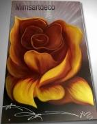 tableau fleurs tableau fleur jaune grand tableau rose j peinture sur toile grand tableau modern : Tableau grande rose jaune