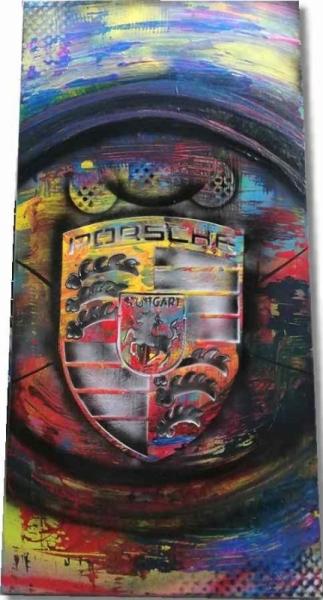 TABLEAU PEINTURE Logo Porsche tableau abstrait déco actuelle Fabrication artisana Sport  - Tableau Logo Porsche abstrait