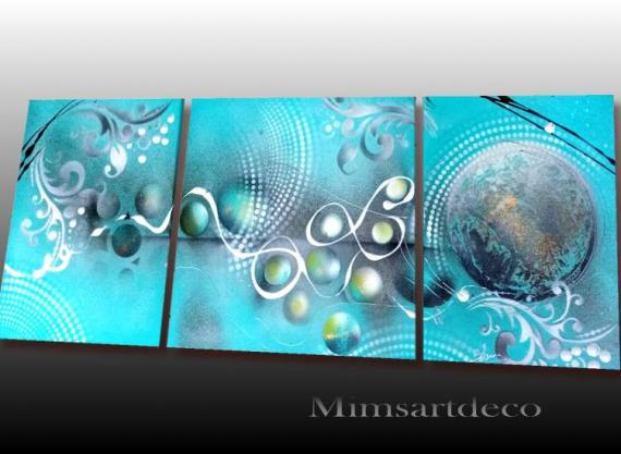 TABLEAU PEINTURE tableau abstrait peinture abstraite peinture sur toile artiste peintre abstrait Abstrait  - Tableau abstrait bleu turquoise