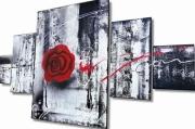 tableau fleurs tableau design tableau rose rouge art moderne tableau abstrait : TABLEAU MODERNE ROSE ROUGE