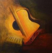 tableau abstrait musique guitare abstrait : Musique