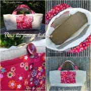 art textile mode fruits sac ,a tricot lin liberty matelasse : Sac à tricots matelassé en lin et coton 18