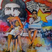 tableau personnages cuba urbain ville revolution : POR LA VIDA