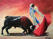 tableau scene de genre : corrida